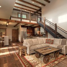 Lucky 4 Ranch - traditional - Living Room - Other Metro - Uptic Studios love the stairs Barn House Kits, Barn Renovation, Loft Design, Studio Design, My Dream Home, Building A House, Architecture Design, House Plans, Sweet Home