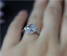 Vintage Style Engagement Ring 7mm Cushion Natural VS by NidaRings