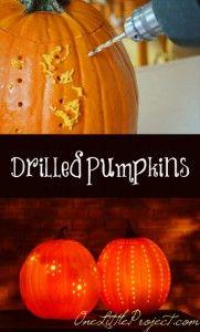 Halloween ideas - Easy drilled pumpkins tutorial