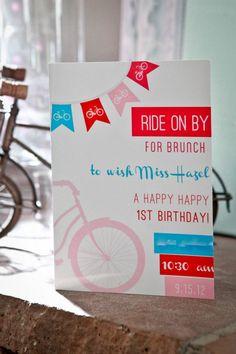 35 ideas birthday brunch invitations fun for 2019 Bicycle Birthday Parties, Bicycle Party, Birthday Brunch, Third Birthday, 1st Birthday Girls, First Birthday Parties, Brunch Invitations, Invitations Kids, Invites