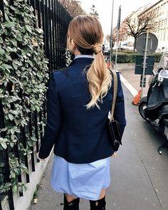 Dress: tumblr mini blue shift blazer blue blazer navy hair ponytail ombre hair bag black boots black