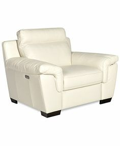 "Julius Leather Power Motion Large Arm Chair, 51""W x 38""D x 38""H - furniture - Macy's"