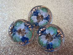 Czech Glass Buttons White Green Blue W/Gold Accents