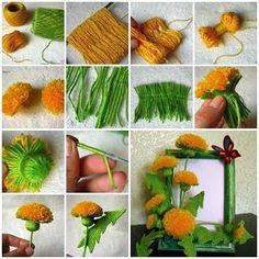 Craft Pretty Yarn Dandelions for Your Home – Yarn Crafts Yarn Flowers, Diy Flowers, Crochet Flowers, Paper Flowers, Pom Pom Crafts, Flower Crafts, Yarn Crafts, Resin Crafts, Fabric Crafts