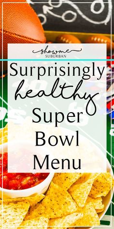 Game day doesn't have to mean game over for your diet. Plan a healthy Super Bowl menu! Mix and match ideas for light appetizers, entrees, and desserts to create the ultimate fit fan food lineup! via Suburban Super Bowl Party, Super Bowl Menu, Super Bowl Foods, Superbowl Desserts, Healthy Superbowl Snacks, Healthy Appetizers, Healthy Menu, Quick Snacks, Superbowl Party Food Ideas