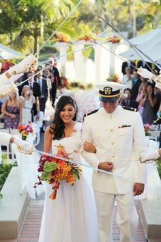 love the bouquet and the dress!  What are the chances I can convince Miguel to wear his whites?