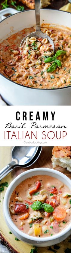 Creamy Basil Parmesan Italian Soup tastes better than any restaurant soup at a fraction of the price! Super easy seasoned to perfection bursting with tender chicken tomatoes carrots celery and macaroni enveloped creamy Parmesan. Italian Soup Recipes, Cooking Recipes, Healthy Recipes, Vitamix Recipes, Crockpot Recipes, Soup And Sandwich, Soup And Salad, Soups And Stews, Food For Thought