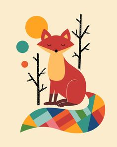 Rainbow Fox Art Print/ I like this kind of stuff but I don't know if I would get this print