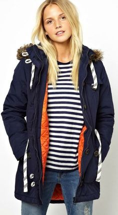 parka and stripes. I like striped drapey tops they go with everything I like