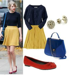 Taylor Swift style  navy cabled sweater, yellow skirt, red flats