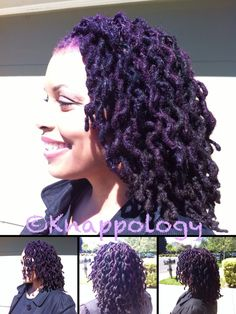 """Wow, I don't think I'd dye it ALL purple (unless I had that fee-yurce fro-hawk from that other Pinterest pic), but it's definitely """"A Look"""" ---dark purple locs = unique and people say all locs look alike..... NOT!"""