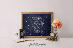 INSTANT DOWNLOAD Quote Print, Printable wall art decor poster - inspirational star quotes, twinkle twinkle little star Printable Wisdom
