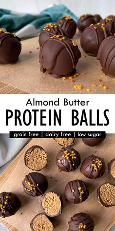 This healthy Collagen Protein Balls recipe has a creamy almond butter and collagen peptide filling and a dark chocolate coating. These collagen bites are low carb, Paleo, Keto and great as a healthy snack or dessert. #collagen #proteinballs #lowcarbsnacks Dairy Free Keto Recipes, Healthy Dessert Recipes, Gluten Free Desserts, Free Recipes, Snack Recipes, Paleo Protein Balls, High Protein, Chocolate Coating, Chocolate Covered