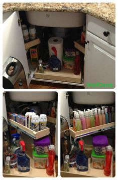 Optimize the space under your #corner #sink with strategically placed pull out #shelves. Sponges to the left, hand soaps to the right and dish detergents right there in the middle.