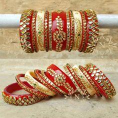 Beautiful simple look chura. Indian Wedding Jewelry, Wedding Jewelry Sets, Wedding Accessories, Bridal Jewelry, Bridal Bangles, Gold Bangles, Bangle Bracelets, Thread Bangles, Thread Jewellery