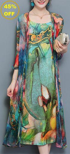 45% OFF! US$34.94 Plus Size Vintage Women Two Pieces Set Straps Print Dresses. SHOP NOW!