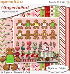 50% OFF TODAY Gingerbread Digital Scrapbook Kit Clip Art in Pink, Red, Green, Pink Digital Digital Papers, Chevron, Instant  #scrapbooking #winter #christmas #digiscrapdelights #happyholidays #crafts