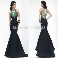 New Fashion Scoop Neck See Through Emerald Crystals Beads Satin Long Backless Mermaid Prom Dresses