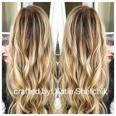 Hand painted blonde Balayage By Katie Shefchik Aveda color