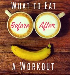 what to eat before & after a workout || If you workout in the afternoon: Eat a light snack if you are hungry before your workout. Power foods like a small bowl of oatmeal, a banana, apple slices with peanut butter or muscle milk. || After your workout: Eat within 30 minutes after your workout so your body doesn't start burning muscle. Almonds or whip up a protein shake. Then, eat small meals every 3 hours throughout.