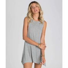 Billabong Women's Last Call Dress (€32) ❤ liked on Polyvore featuring dresses, dark athletic grey, tank top dress, billabong dress, stripe dress, gray muscle tank and gray mini dress