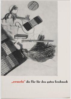 """Georg Trump. """"Ermeto,"""" die Uhr für den guten Geschmack. c. 1931. Letterpress. 8 1/4 x 5 7/8"""" (21 x 14.9 cm). H. Berthold AG, Berlin. Jan Tschichold Collection, Gift of Philip Johnson. 995.1999. Architecture and Design"""