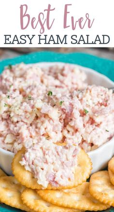 The best Ham Salad recipehow to make ham spread with leftover ham. Plus thre - Ham - Ideas of Ham - The best Ham Salad recipehow to make ham spread with leftover ham. Plus three other recipes with ham leftovers including potatoes sandwiches and rollups! Croissant Sandwich, Sandwich Bar, Sandwich Spread, Ham Salad Sandwiches, Sandwich Sides, Ham Salad Recipes, Healthy Recipes, Pork Recipes, Appetizer Recipes