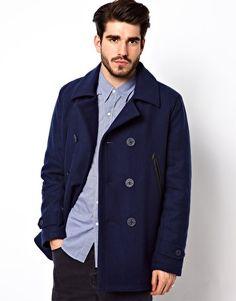 Shop Levis Melton Pea Coat at ASOS. Fred Perry, Fashion Online, Raincoat, Winter Jackets, Pea Coat, Levis, Asos, Shopping, Clothes