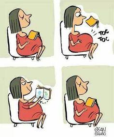 Baby reading / Bebé leyendo (ilustración de Jean Galvao)