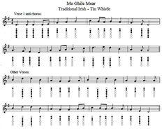 Mo Ghile Mear/A Riogain Uasail Sheet Music And Tin Whistle notes
