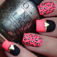 Neon Pink, Black and Gold Leopard Nails With Gold Hearts