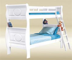 Anette White Sleigh Twin Bunk Bed #bunkbed