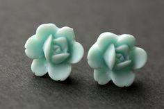 New to StumblingOnSainthood on Etsy: Baby Blue Lotus Earrings. Lotus Rose Earrings. Post Earrings. Baby Blue Earrings. Silver Stud Earrings. Handmade Jewelry. (8.00 USD)
