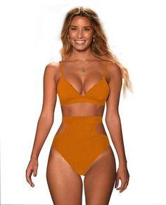 9b38ab9e016 Ariel Sarah 2018 High Waist Bikini Sexy Plus Size Swimwear Solid Women  Bikini Set Bandage Biquini
