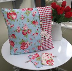 CUSHION COVERS red white blue Rosali Cath kidston Fabric SHABBY CHIC 16 X 16 40 £9.99