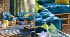 Coussin Palette : Guide d'Achat 2019 (+ Bons Plans) Where to find pallet cushions? Check out the shopping guide and … Palette Couch, Table Palette, Pallet Projects Diy Garden, Pallets Garden, Wood Pallets, Palette Pas Cher, Diy Pallet Furniture, Outdoor Furniture Sets, Smart Tiles
