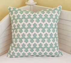 Robert Allen Beacon Hill Armadale in Water Designer Pillow Cover - Square, Euro and Lumbar Sizes by SewSusieDesigns on Etsy https://www.etsy.com/listing/267811072/robert-allen-beacon-hill-armadale-in