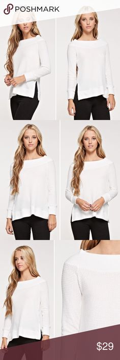 Coming soon ✌🏼️ Wide neck, slightly off the shoulder thermal. Relaxed fit with side slits!   Model is wearing small  Fabric: 96% Rayon 4% Spandex  ❌Trades ✅ Price Firm ✴️ Bundles Save 20% 💟 Also available in Blue Tops