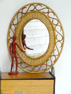 Passion rotin MIROIR ovale .  www.muluBrok.fr Vintage