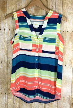 Anthropologie Maeve Striped Sleeveless V Neck Blouse Size 4 Small | eBay