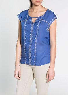 Violeta by Mango New Curve Plus Size Collection Elegant Embroied Cobalt Blue Blouse