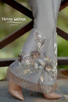 Grey raw silk boot cut trousers with pearl and crystal embroidery and embellishment with crystal hangings. Available to order as boot cut or straight trousers. Pakistani Wedding Outfits, Pakistani Dresses, Salwar Designs, Blouse Designs, Salwar Pants, Plazzo Pants, Latest Dress Design, Crystal Embroidery, Embroidery Dress