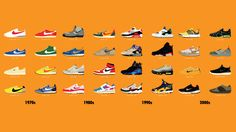 40 Years of Nike's Most Iconic Shoe Designs, Visualized: Nike's impact on both pop culture and the shoe industry is unrivaled. It's consistently one of the most popular brands in the world and has an insane sneakerhead following. But of all the hundreds of shoes released since the 1970s, what are its most iconic designs?
