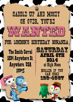 Sheriff Callie's Invitation Birthday Party by LandLPrintables