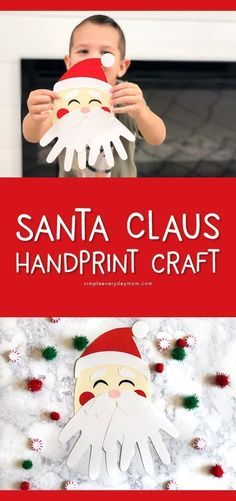 A Simple Santa Handprint Craft For Kids Christmas crafts, children Holiday Crafts For Kids, Preschool Christmas, Noel Christmas, Christmas Activities, Xmas Crafts, Santa Crafts For Kids To Make, Christmas Crafts For Kindergarteners, Christmas Projects For Kids, Childrens Christmas Crafts