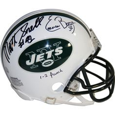 "Emerson Boozer & Matt Snell Dual Signed New York Jets Throwback 65-77 Mini Helmet w/ ""1-2 Punch"" Inscribed By Boozer"
