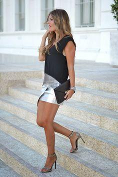 Metallic Asymmetric Skirt     Helena   (Source: miaventuraconlamoda.com) - Ecstasy Models