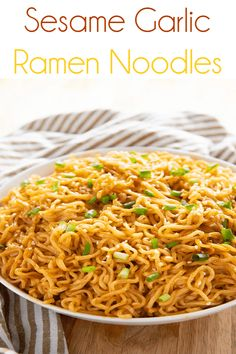 Sesame Garlic Ramen Noodles Sesame Garlic Ramen Noodles is the best ramen noodle recipe made easy at home with a simple and super flavorful sauce! Make ramen at home even better! - Sesame Garlic Ramen Noodles Recipe - The Salty Marshmallow New Recipes, Vegetarian Recipes, Dinner Recipes, Cooking Recipes, Recipies, Cooking Pork, Kitchen Recipes, Best Ramen Noodles, Recipes With Ramen Noodles