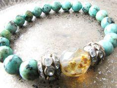 African Turquoise Gemstone Stretch Bracelet