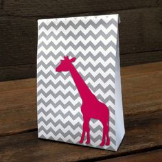 Pink Giraffe Chevron Gift Bag Template by PrintablePartyBags, $2.95